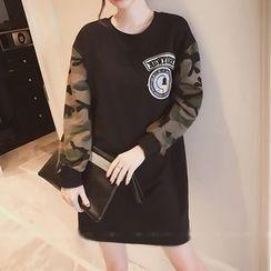 ERE - Long-Sleeve Camo Panel A-line Dress