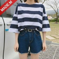 MICHYEORA - 3/4-Sleeve Striped T-Shirt
