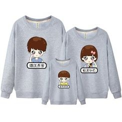 Panna Cotta - Family Matching Cartoon Print Pullover
