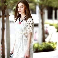 Queen Mulock - Short-Sleeve Eyelet Dress