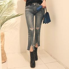DABAGIRL - Fray-Hem Boot-Cut Distressed Cropped Jeans