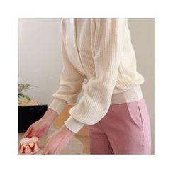LEELIN - Wool Blend Waffle-Knit Cardigan