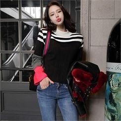 LIPHOP - Color-Block Stripe Knit Top