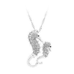 BELEC - 925 Sterling Silver Hippocampus Pendant with White Cubic Zircon and Necklace