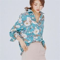 MAGJAY - Open-Placket Floral-Patterned Blouse