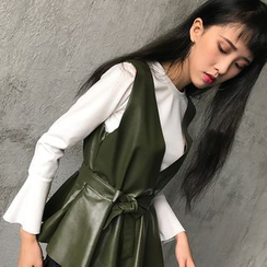 Anlay - Set: Faux-Leather Vest + Plain Bell Sleeve Top