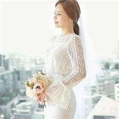 CHICLINE - Bell-Sleeve Lace Blouse