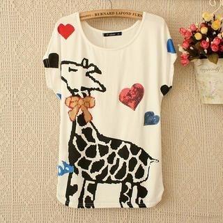 LULUS - Short-Sleeve Giraffe-Print T-Shirt
