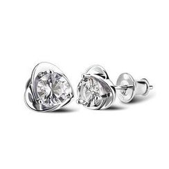 BELEC - 925 sterling silver with natural white crystal earrings