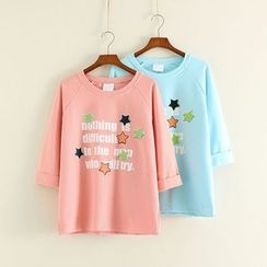 Mushi - Star Print Lettering 3/4 Sleeve Pullover