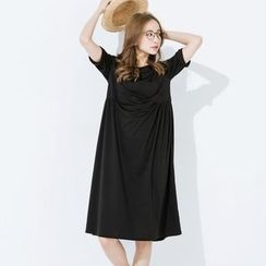 CatWorld - Elbow-Sleeve Shirred Dress
