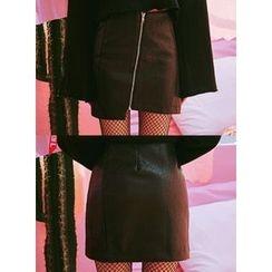 icecream12 - Zip-Front Faux-Leather Mini Skirt