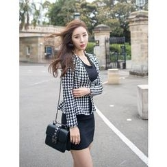 GUMZZI - Set: Collarless Houndstooth Jacket + Sleeveless Textured Dress