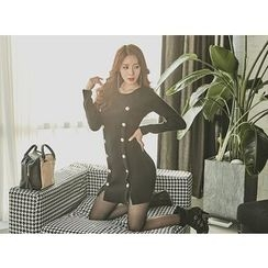 UUZONE - Slit-Front Buttoned Knit Dress