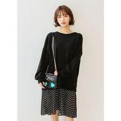 J-ANN - Pattern Layered-Hem Pullover Dress