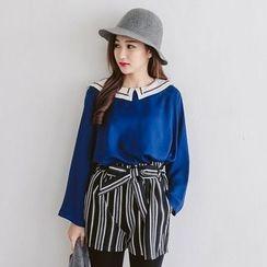 Tokyo Fashion - Long-Sleeve Woven Trim Collar Top