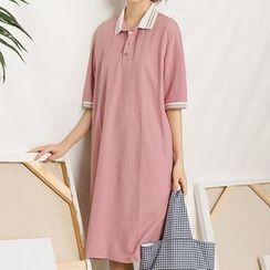 Heynew - Elbow-Sleeve Polo Dress