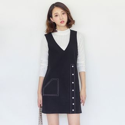 AC - Buttoned Sleeveless Wool Dress