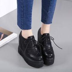 Anran - Lace-Up Hidden Wedge Platform Shoes