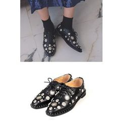 migunstyle - Studded-Detail Lace-Up Loafers