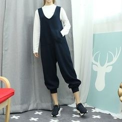Dodostyle - Kangaroo-Pocket Wide-Leg Jumper Pants