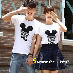 Igsoo - Couple Printed Short-Sleeve T-shirt