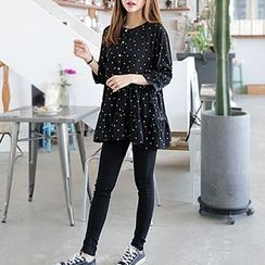 Seoul Fashion - 皺褶擺圓點迷你連衣裙