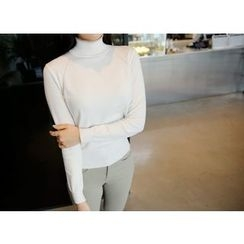 Envy Look - Turtle-Neck Pointelle-Knit Top
