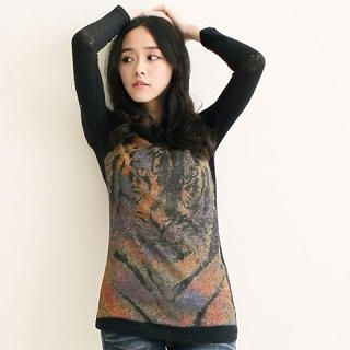 Tiger-Print Knit Top