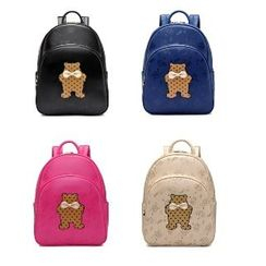 BeiBaoBao - Faux-Leather Bow-Accent Applique Backpack