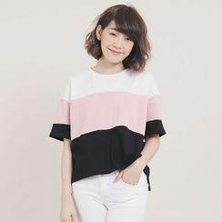 Tokyo Fashion - Short-Sleeve Color-Block Top