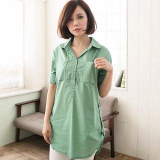 CatWorld - Tab-Sleeve Long Blouse