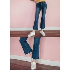 Chlo.D.Manon - Fray-Hem Washed Boot-Cut Jeans