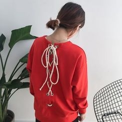 Dute - Lace-Up Back Pullover