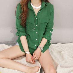 NANING9 - Linen Tab-Sleeve Shirt