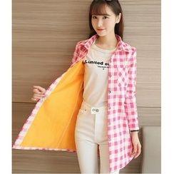 Yinaike - Fleece Lined Check Long Shirt