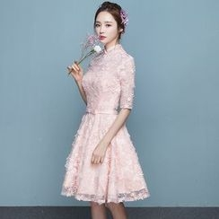 P-BRIDE - Elbow-Sleeve Lace Mini Prom Dress