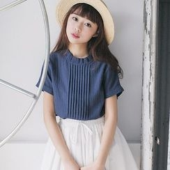 Tokyo Fashion - Short-Sleeve Pleated Frilled Top