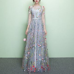 Rosita - Floral Embroidered 3/4-Sleeve Evening Gown