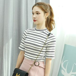 Dodostyle - Elbow-Sleeve Stripe Ribbed T-Shirt