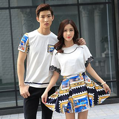 Azure - Couple Matching Printed Trim Short Sleeve T-Shirt / Set: T-Shirt + Skirt