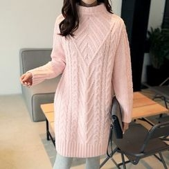 CLICK - High-Neck Cable-Knit Dress