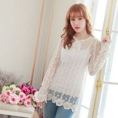 Tokyo Fashion - Dotted Lace Long-Sleeve Top