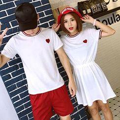 Azure - Couple Matching Embroidered Short Sleeve T-Shirt / Short Sleeeve Dress