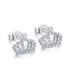 BELEC - 925 Sterling Silver Crown Stud Earrings with Silver Cubic Zircon