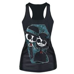 Omifa - Sleeveless Skull-Print Top