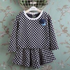 Kidora - 儿童套装: 长袖圆点T恤 + 荷叶边短裙
