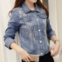 Cottony - Sequined Faux Pearl Denim Jacket