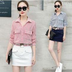 Mandalle - Set: Striped Shirt + Plain A-Line Skirt