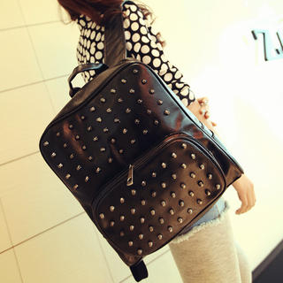 Miss Sweety - Studded Faux Leather Backpack